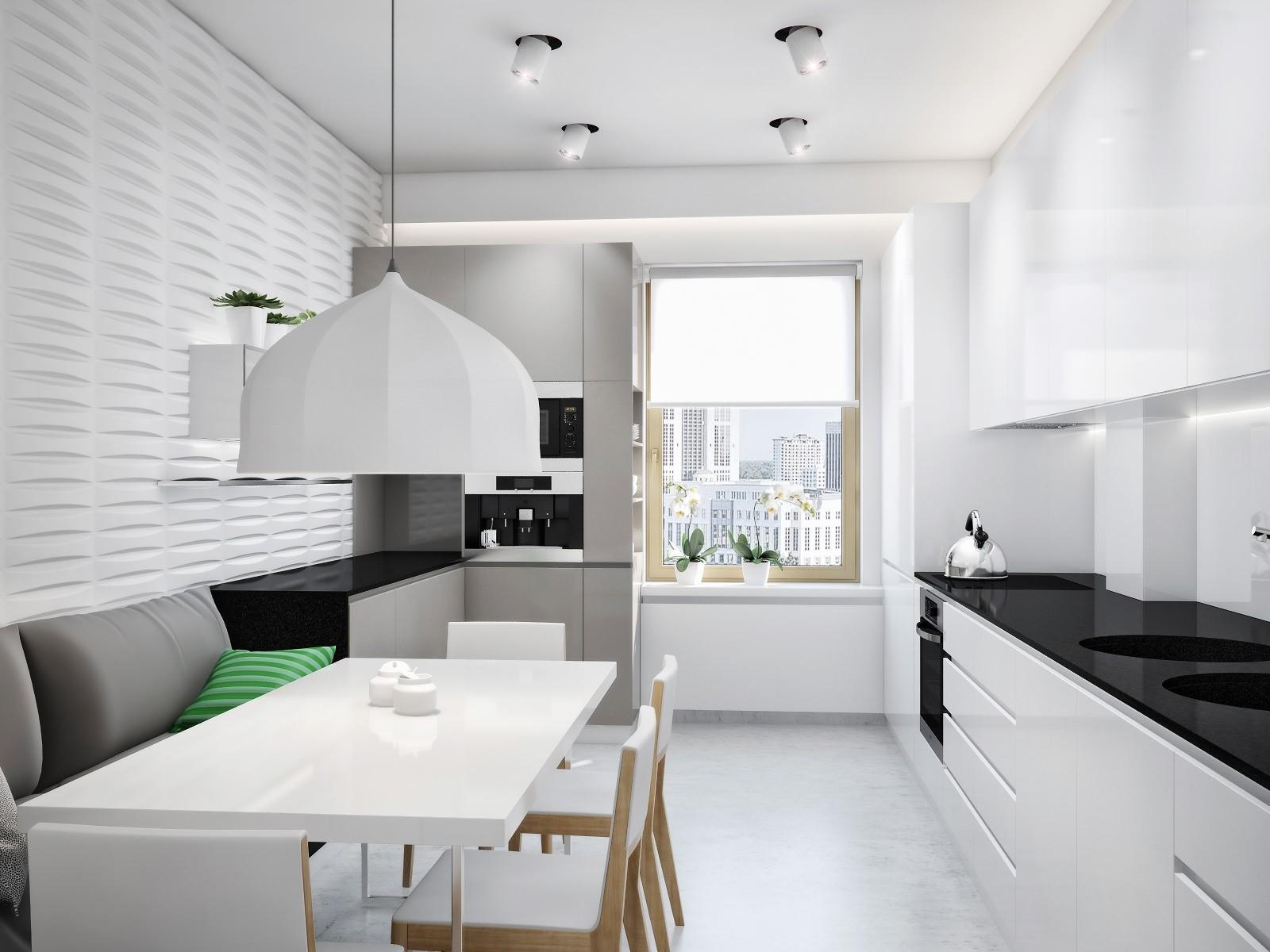 большая кухня в стиле минимализм