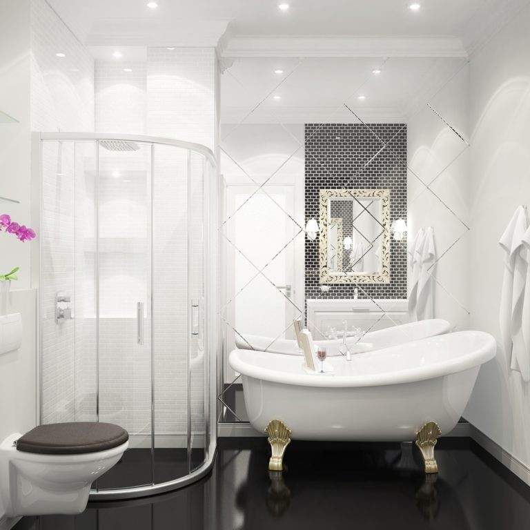 Черно-белая ванная комната малого метража