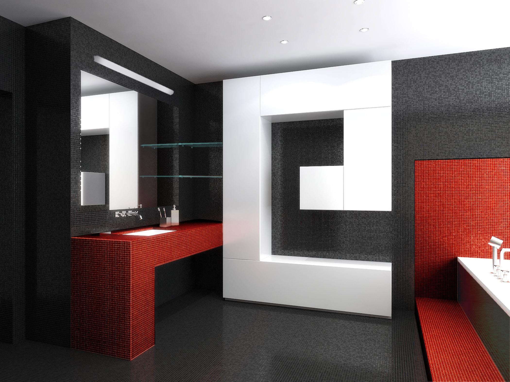 Черно-белая ванная комната разбавлена красным