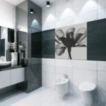 Черно-белая ванная комната с душевой кабинкой из темного стекла