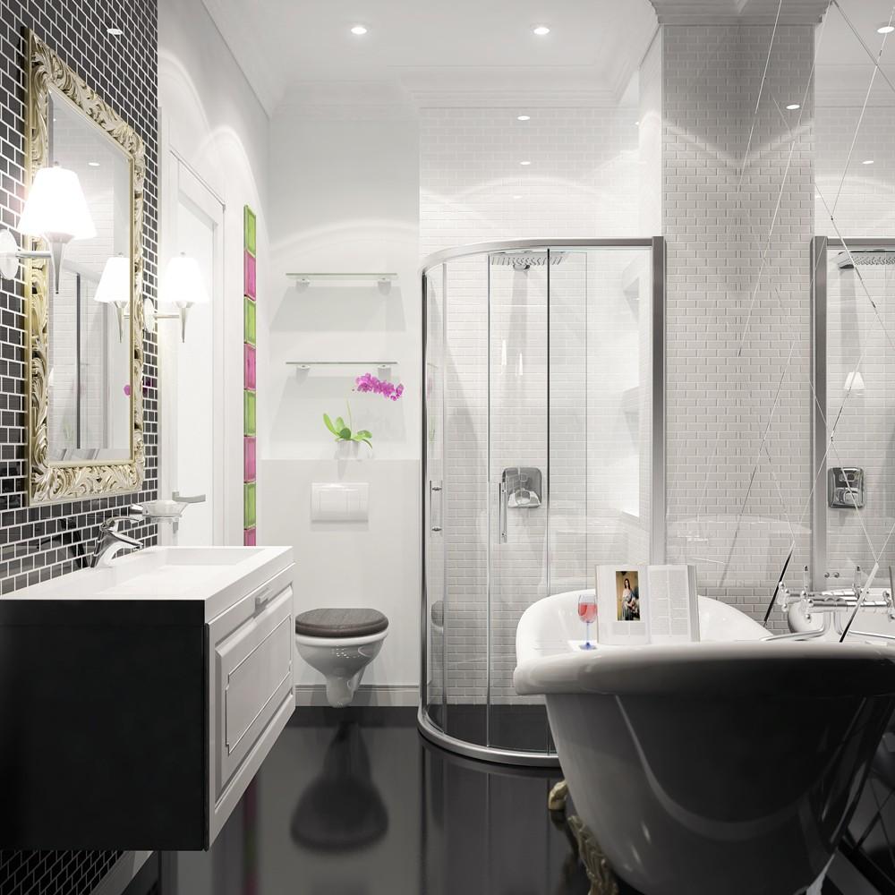 Черно-белая ванная комната со стеклянными элементами