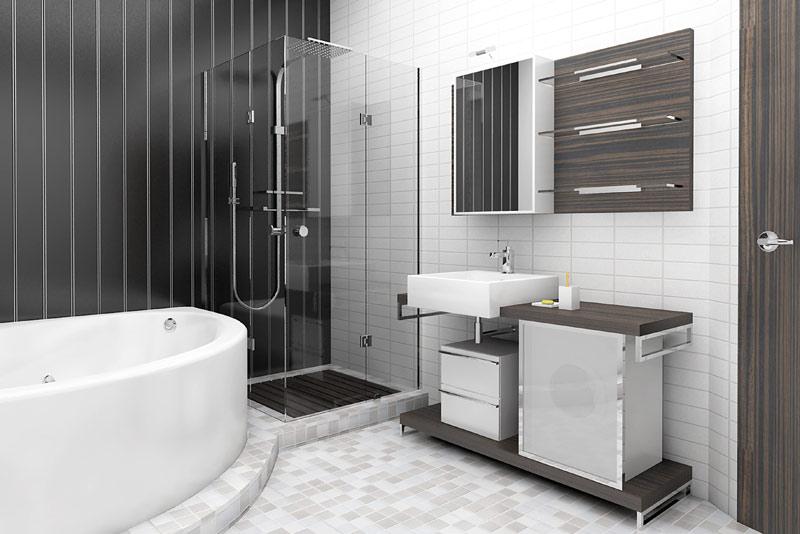 Черно-белая ванная комната в нейтральных тонах