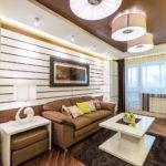 декор стен в гостиной коричневый цвет в интерьере