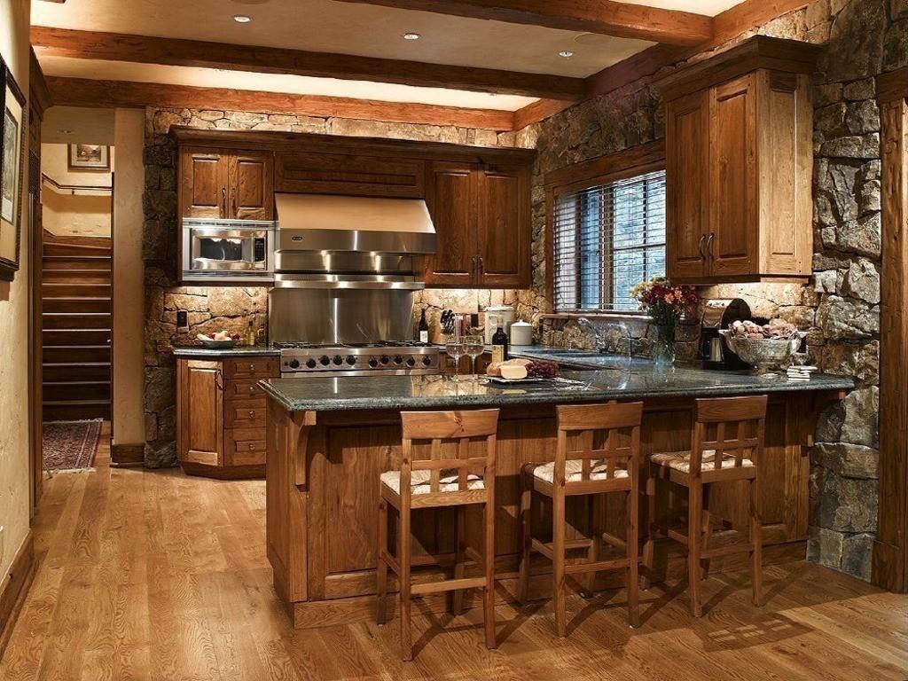 дизайн большой кухни в стиле кантри