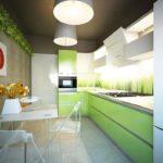 дизайн большой кухни зеленого цвета