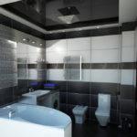 Дизайн ванной комнаты с черным натяжным потолком