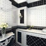 Дизайн ванной комнаты в стиле черно-белого арт-деко