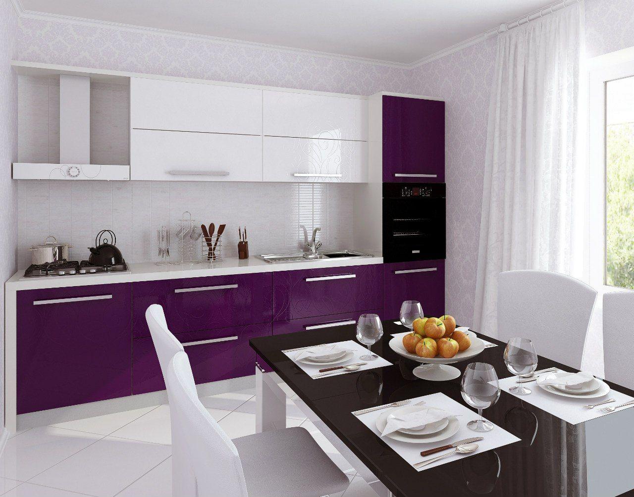 них, кухни фиолетового цвета с белым фото фартук