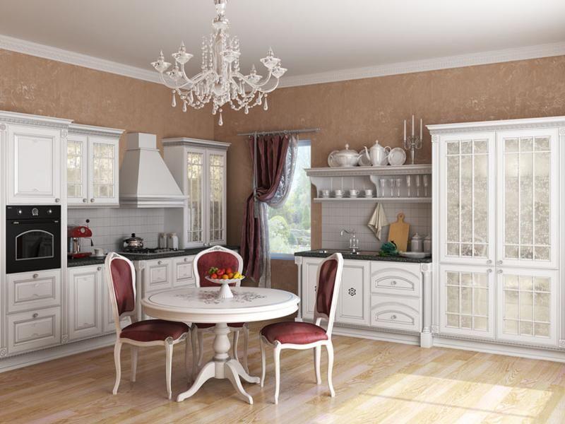 Интерьер белой кухни в стиле ампир