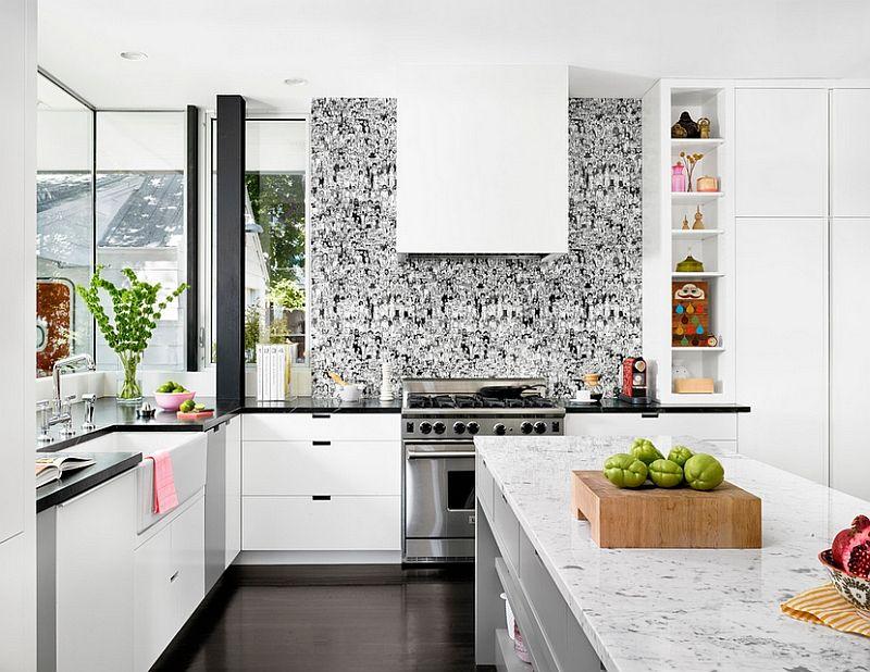Интерьер белой кухни в стиле фьюжн