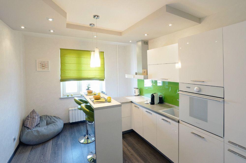 Интерьер белой кухни в стиле минимализм