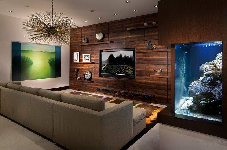 отделка стены деревом в гостиной