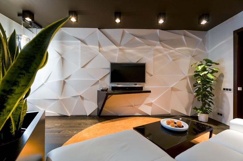 стена из гипсокартона в гостиной