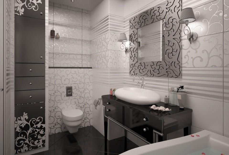 Ванная комната черно-белого цвета арт-деко
