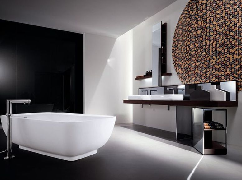 Ванная комната черно-белого цвета хай-тек