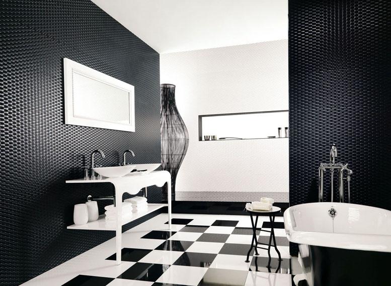 Ванная комната черно-белого цвета модерн