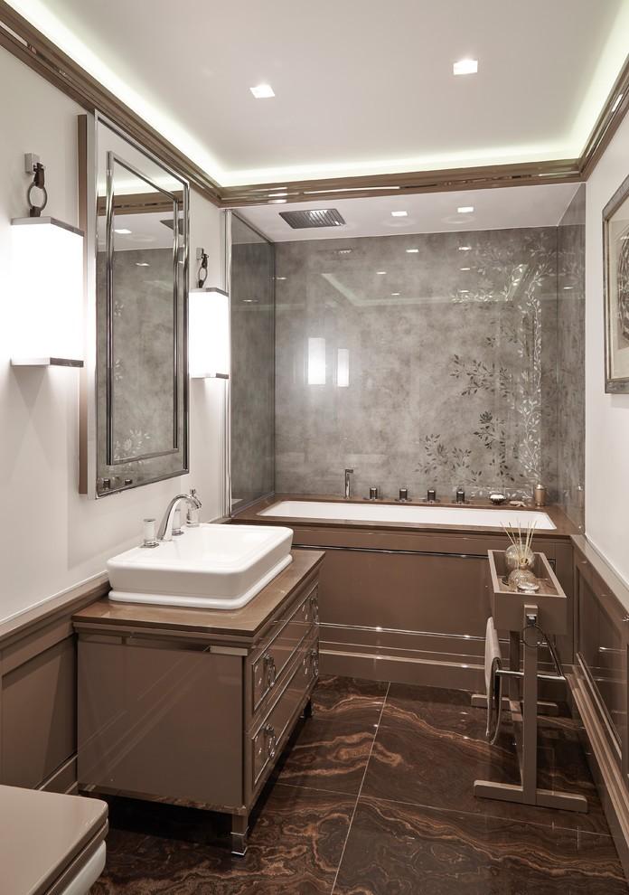 пол из камня в ванной