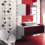 красно белый дизайн ванной совмещенной с туалетом