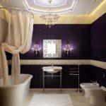 шикарный дизайн ванной совмещенной с туалетом