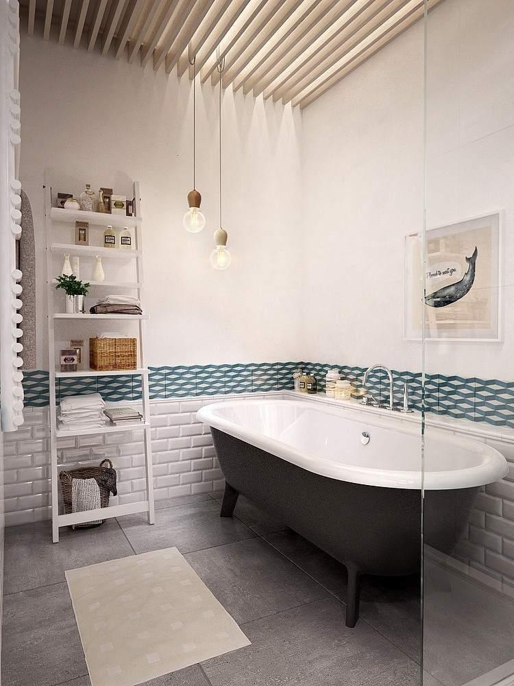 Белая ванная комната гранит скандинавский стиль