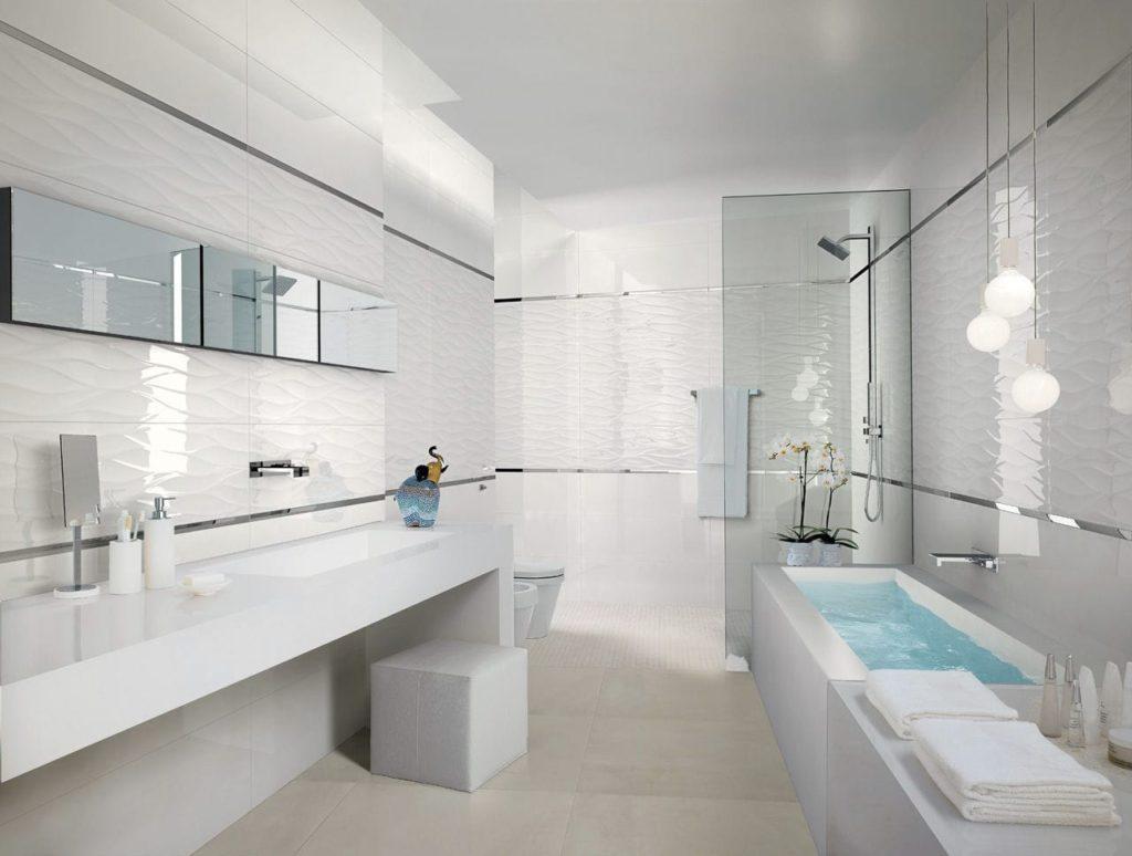 Белая ванная комната керамогранит