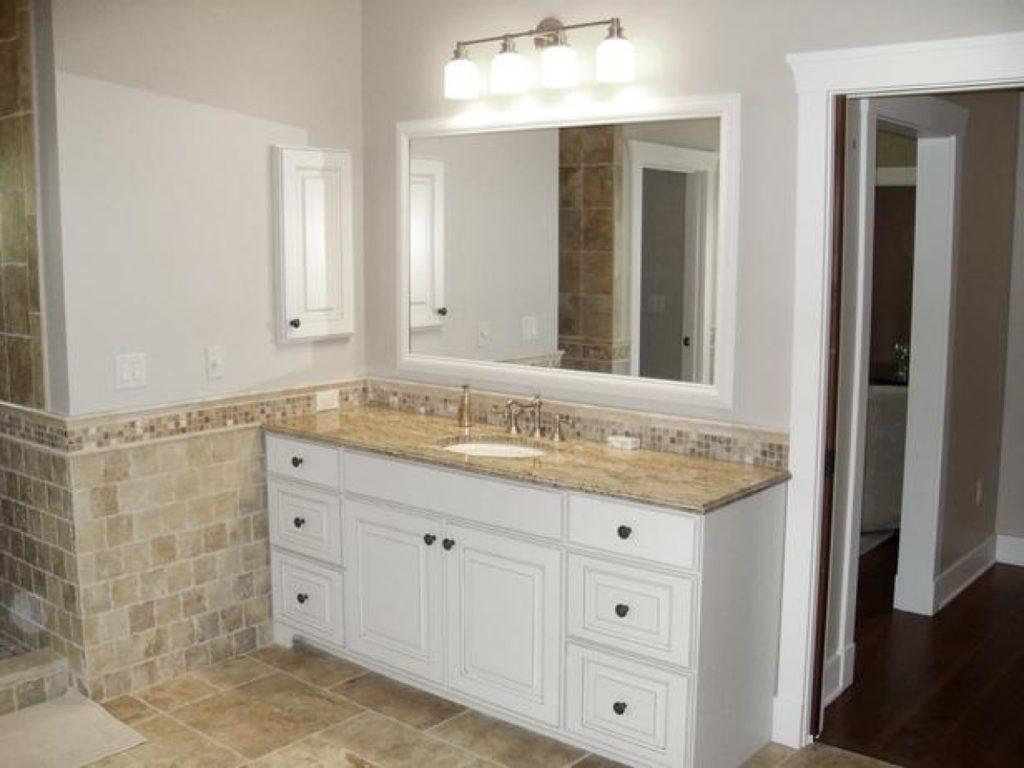 Белая ванная комната минимализм бежевый