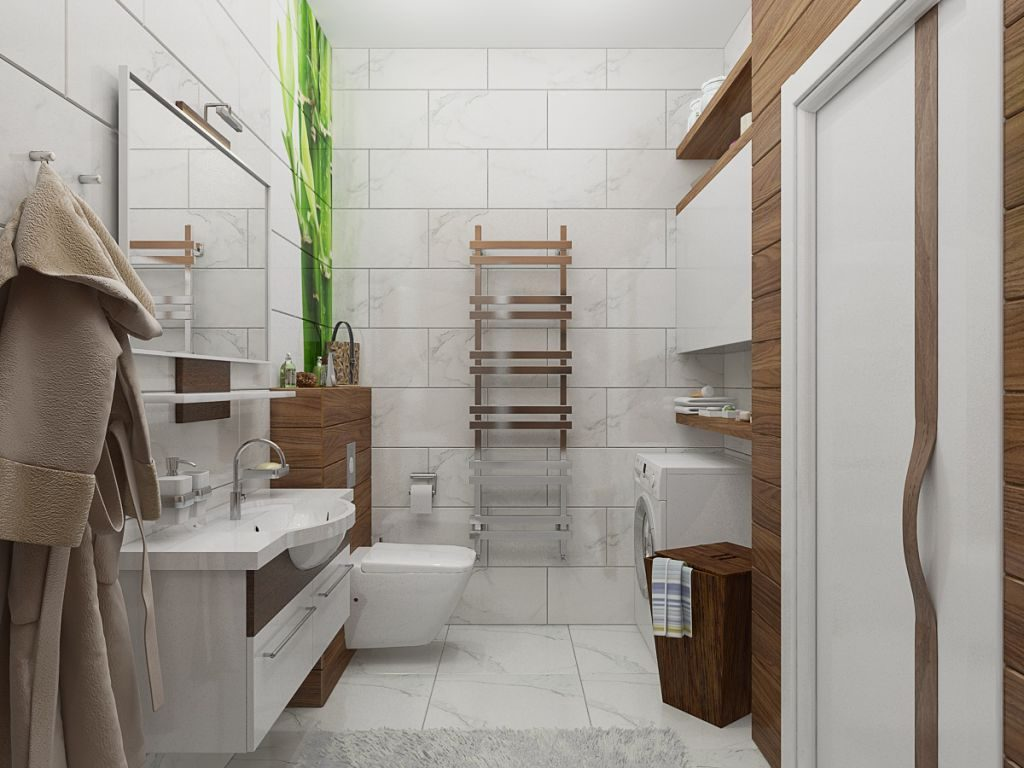 Белая ванная комната стиль эко