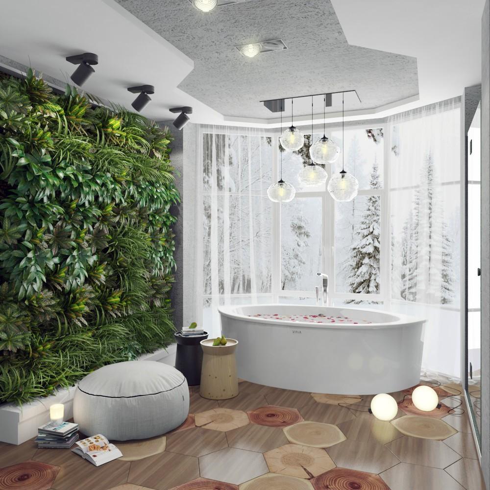 Белая ванная комната стиль эко с растениями