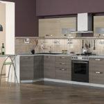 Бежевая кухня фиолетовый серый
