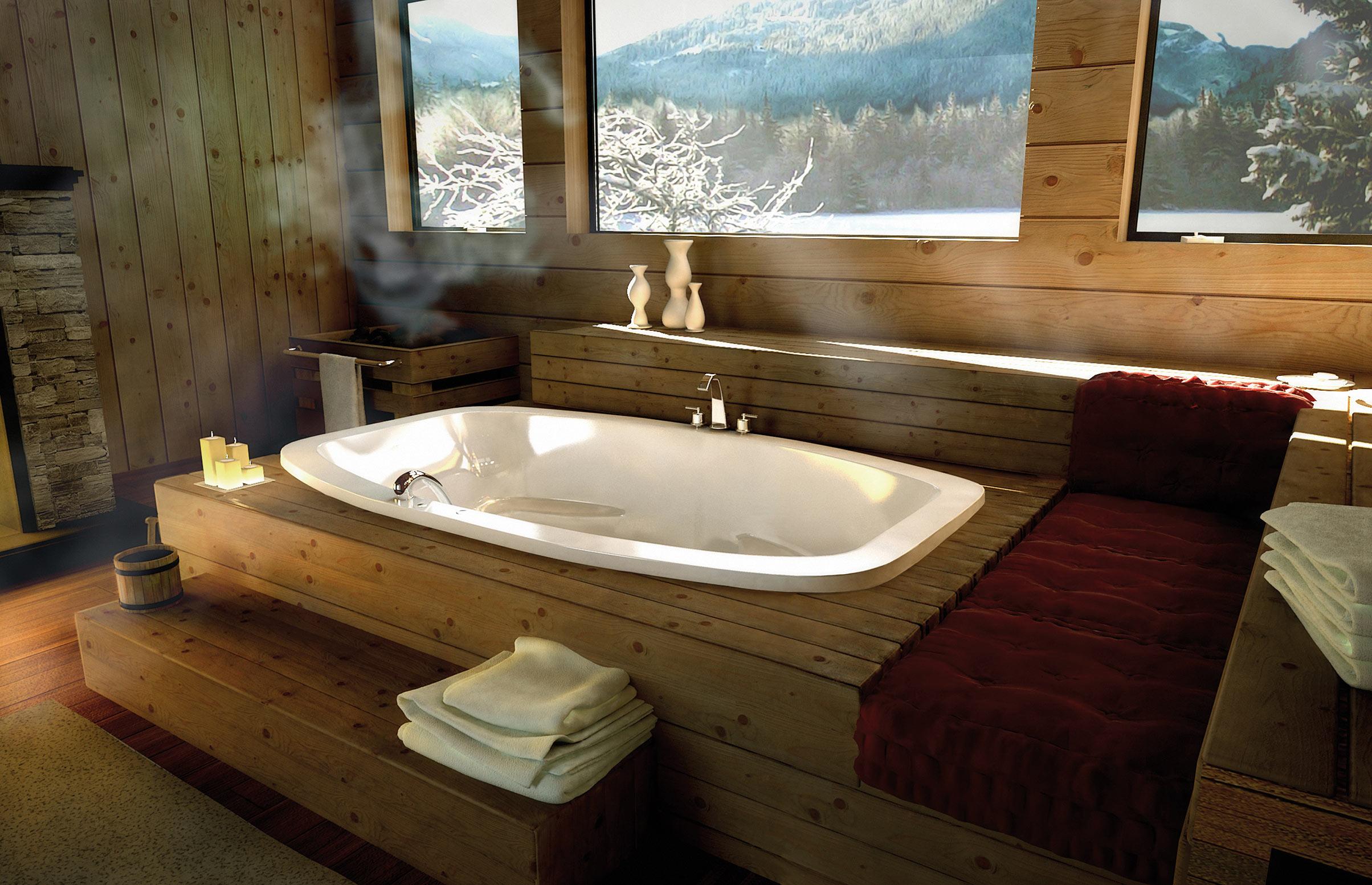 Большая ванная комната дерево обшивка