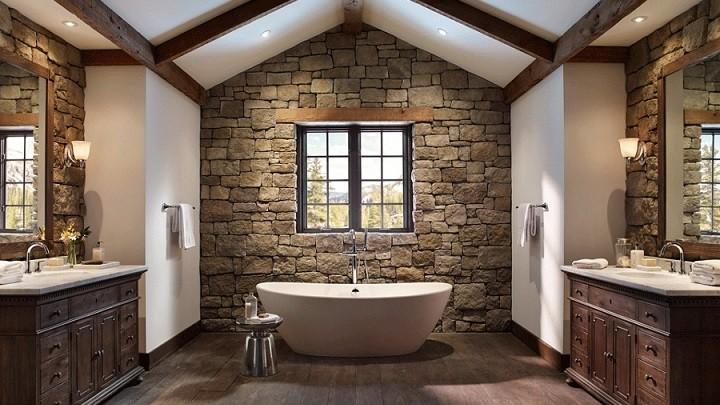Большая ванная комната дерево вокруг
