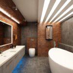 Большая ванная комната клинкерная плитка серый гранит