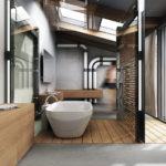 Большая ванная комната лофт
