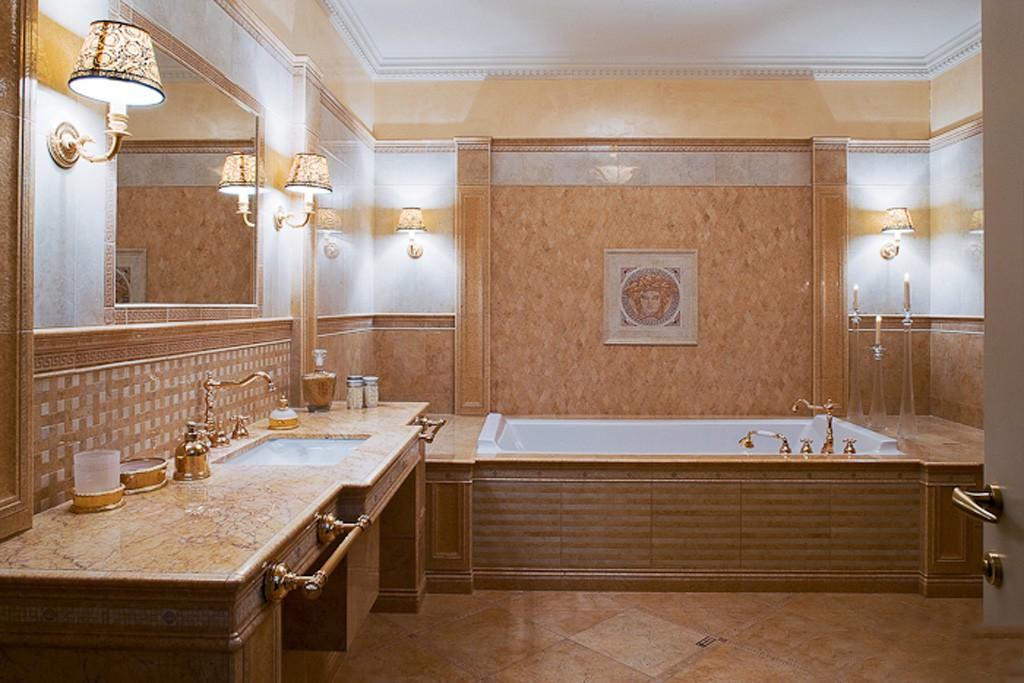 Большая ванная комната нежно-пастельные цвета