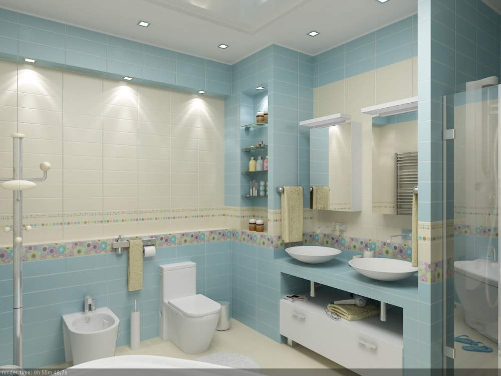 Большая ванная комната освещение