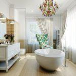 Большая ванная комната отделка разной плиткой