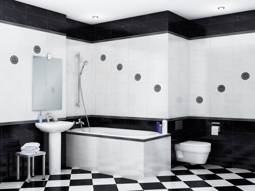 Большая ванная комната разная плитка
