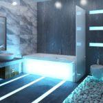 Большая ванная комната стиль хай-тек