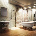 Большая ванная комната стиль лофт и зеркальные стены
