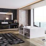 Большая ванная в комнате студии с видом на море