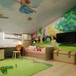 Декор детской комнаты мансарда потолок с росписью