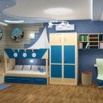 Декор детской комнаты сиренево-синий