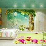 Декор детской комнаты стена с фотообоями