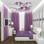 Декор спальни бело-фиолетовый хай-тек