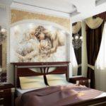 Декор спальни фреска и гардины