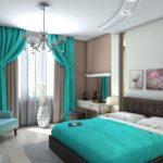 Декор спальни кофейный с бирюзовыми акцентами