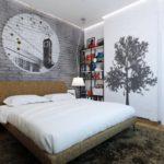 Декор спальни стиль лофт в серых тонах