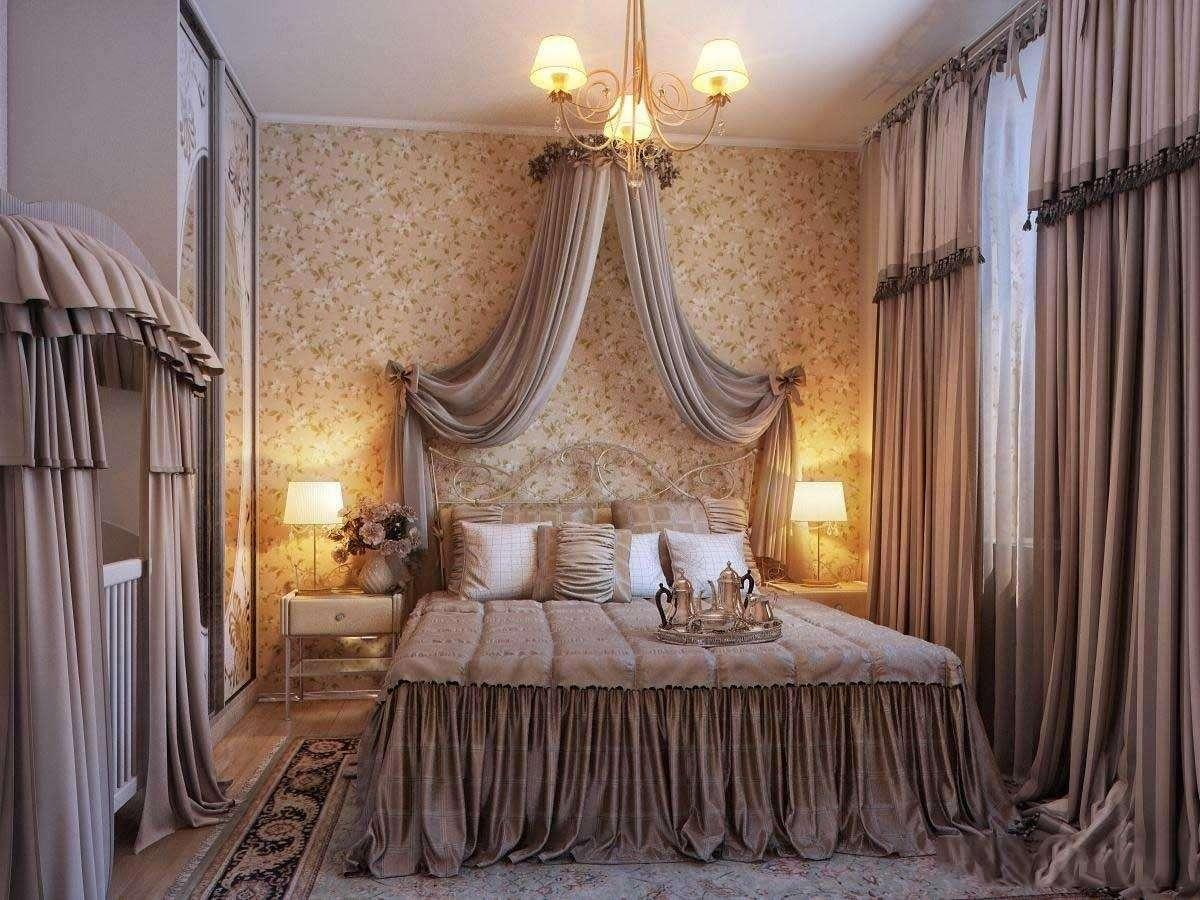 Декор спальни текстиль и обои