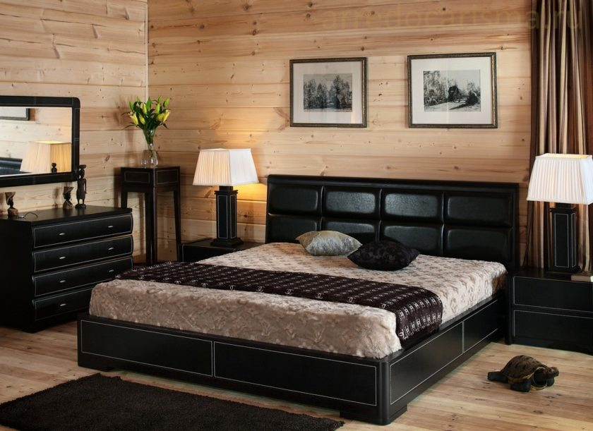 Декор спальни темно-теплый колорит