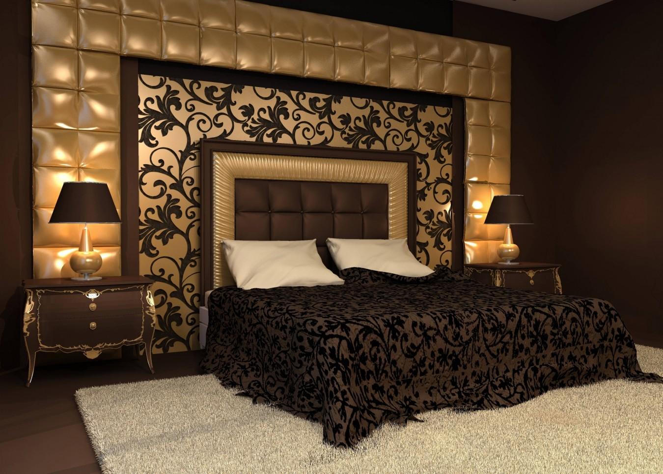 Декор спальни в цветах белого и темного шоколада